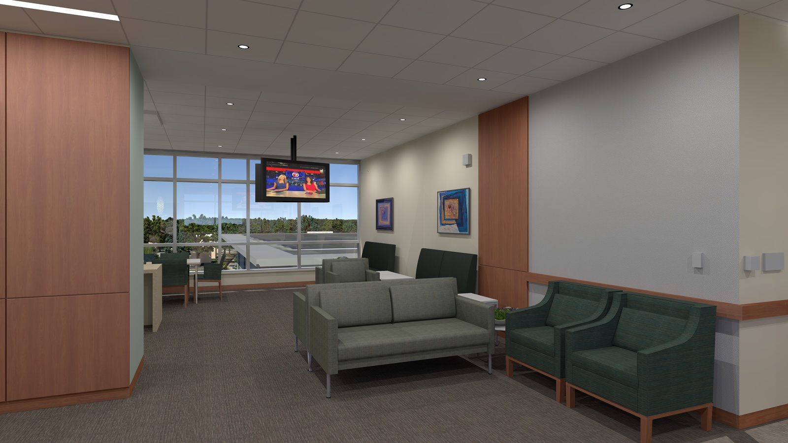 South Shore MA   South Shore Hospital Expansion And Renovation. Still From  Animation   ICU Waiting. Location: South Shore, MA Project Designer:  Architect: ...