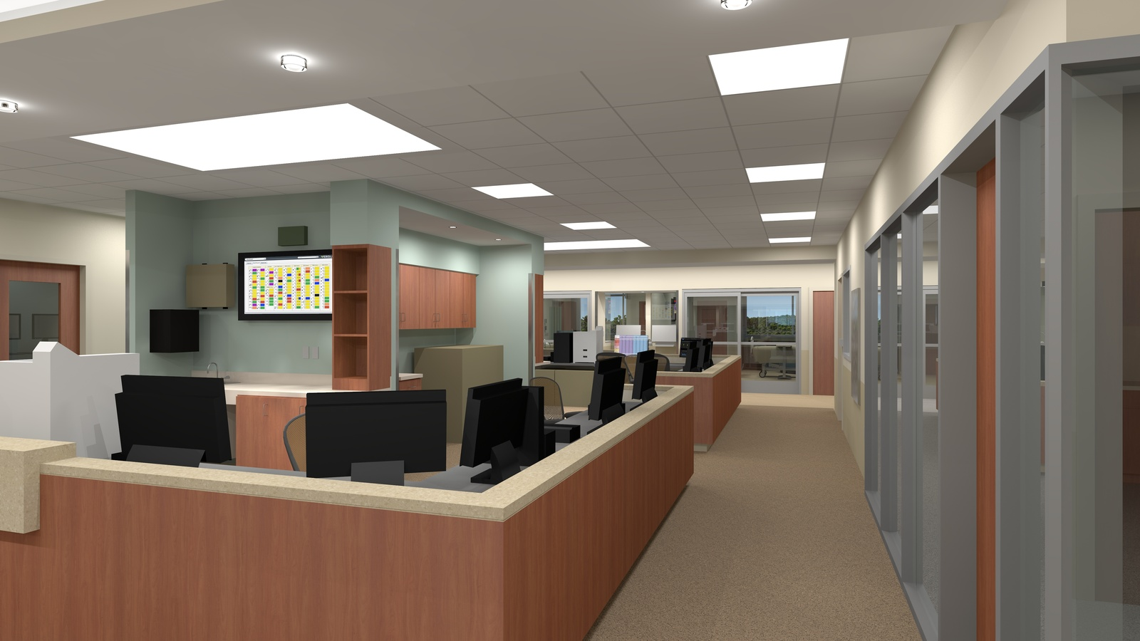 South Shore MA   South Shore Hospital Expansion And Renovation. Still From  Animation   ICU Staff Area. Location: South Shore, MA Project Designer: ...