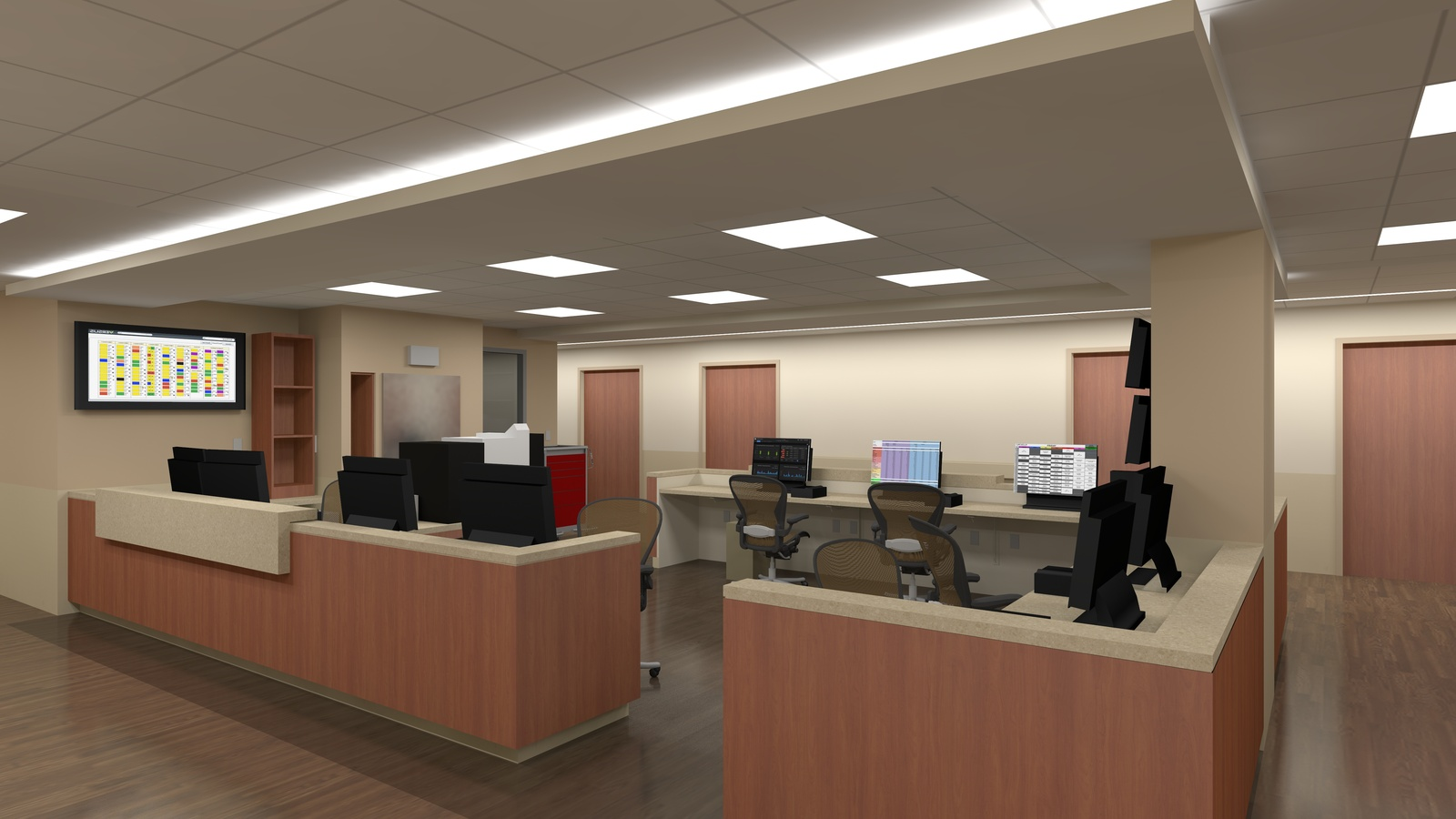 Still From Animation   Medical Surgical Unit Staff Area. Location: South  Shore, MA Project Designer: Architect: TRO Year: 2016   ID:0394 Software  Used: ...